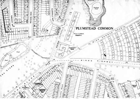 Map of the Prefabs on Plumstead and                             Winn's Commons c.1943