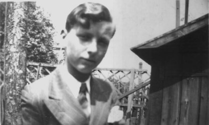 Sid aged about 15 in garden, Parkdale Road, Plumstead.
