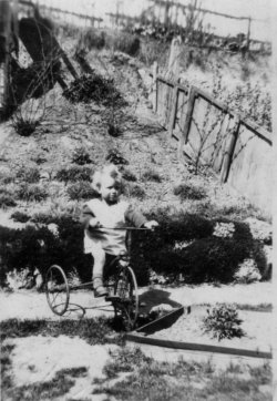 Sid aged about 2 on trike, Parkdale Road, Plumstead. 1929.