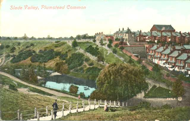 "Postcard showing the ""Slade                           Valley"" and pond. Photo: Clare Crawford."