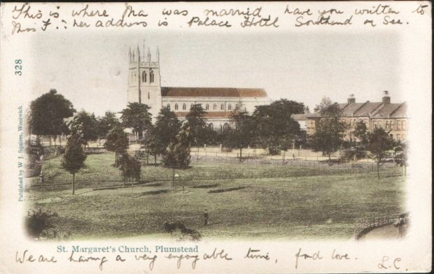 Postcard of St. Margaret's Church,                           Plumstead. Photo: Clare Crawford.