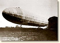 The first Zeppelin to raid London The LZ 38 At its home base, 1915